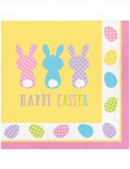 Osterhasen-Servietten Happy Easter 16 Stück bunt 33 x 33 cm