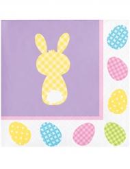 Papierservietten Hasen-Motiv für Ostern 16 Stück bunt 25 x 25 cm