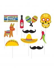 Photobooth Accessoire-Set Mexiko10 Stück bunt