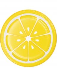 8 kleine Pappteller mit Zitronenaufdruck 18 cm