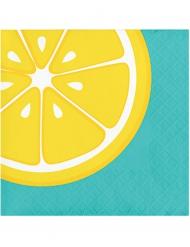 16 Servietten Zitronendesign blau-gelb
