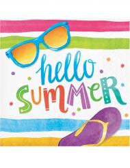 16 Papierservietten Hello Summer 35 x 25 cm