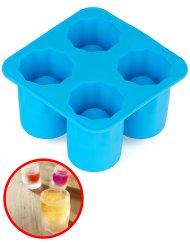 Form für 4 Shots zum Einfrieren blau