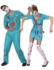 Halloween Paarkostüm Zombie Arzt für Erwachsene blau
