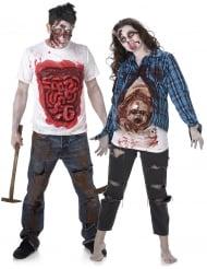 Paarkostüm - Zombie T-Shirt mit Gedärmen Halloween
