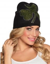 Mütze mit Strass-Kleeblatt St. Patrick