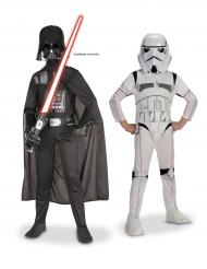 Star Wars™ Paar-Kinderkostüm Darth Vader und Stormtrooper™ schwarz-weiss