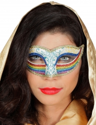Glitzer-Augenmaske für Damen Regenbogen blau