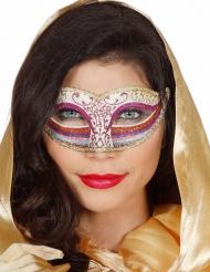 Glitzernde Augenmaske für Damen Regenbogen rosa