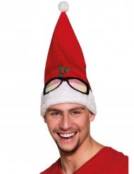 Lustige Weihnachtsmütze mit Brille rot-weiß-schwarz