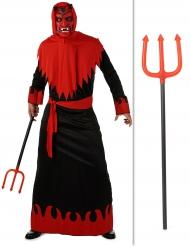 Teufel-Set für Erwachsene mit Teufelkostüm und Dreizack