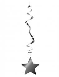 Hängedekoration mit Sterne Metallic 6 Stück silber 80cm