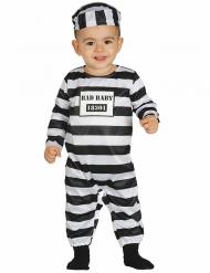 Sträflings-Kostüm für Babys Strampler-Anzug weiss-schwarz