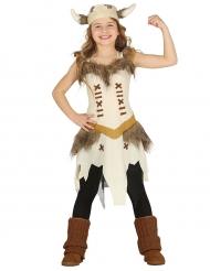 Wikinger Kinderkostüm für Mädchen Fasching braun-beige