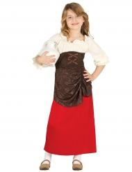 Mittelalterliches Kostüm für Mädchen braun-weiss-rot
