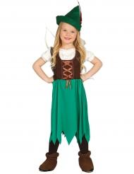 Mittelalterliches Kostüm für Mädchen braun-grün