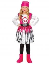 Freche Piratin Mädchenkostüm für Kinder pink-weiss