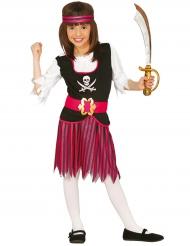 Süsses Piraten-Kostüm für Mädchen rosa-schwarz