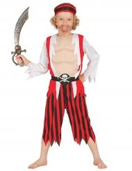Wildes Piratenkostüm für Jungen rot-weiss-schwarz