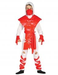 Ninja Kostüm weiß rot für Jungen