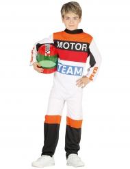 Rennfahrer Kostüm für Kinder weiss-orange-schwarz