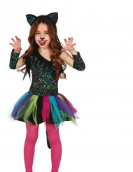 Leoparden-Regenbogen Kostüm für Kinder bunt
