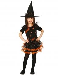 Bezauberndes Hexenkostüm für Mädchen schwarz-orange