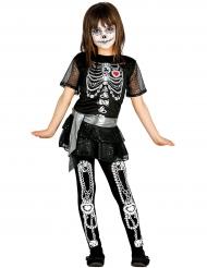Bezauberndes Tag der Toten Skelettkostüm für Mädchen schwarz-weiss
