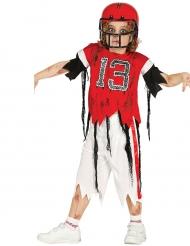 Zombie-Footballspieler Kostüm für Kinder Halloween rot-weiss-schwarz