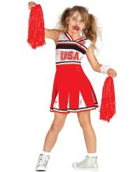Cheerleader-Halloweenkostüm für Mädchen rot-schwarz-weiss