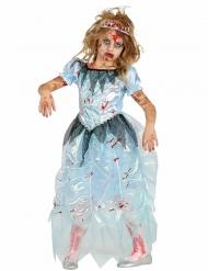 Zombie-Ballkönigin Mädchen-Kostüm Halloween blau