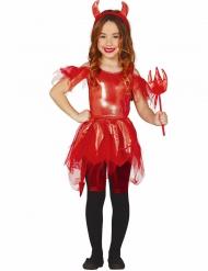 Teuflisches Kinderkostüm für Mädchen Halloween rot