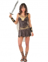 Römische-Kriegerin Damenkostüm braun-gold