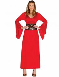 Mittelalterliche Robe Damenkostüm rot-braun