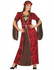 Mittelalterliche-Königin Damenkostüm rot-braun-gold