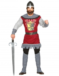 Königliches Ritterkostüm für Herren rot-silber