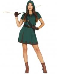 Verruchte Bogenschützin Damenkostüm grün-braun-schwarz