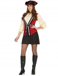 Freibeuter Piratin Kostüm für Damen schwarz-rot-beige
