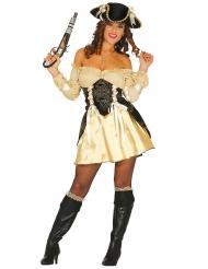 Sexy Piratenbraut Damenkostüm schwarz-goldfarben