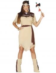 Hübsche Indianerin Damenkostüm Western beige-braun