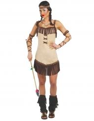 Indianerin-Damenkostüm braun-beigefarben