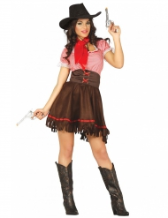 Western-Cowgirl Damenkostüm braun-rot