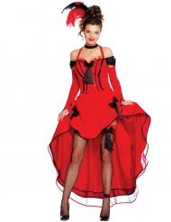 Cancan Kostüm in Rot mit schwarzen Schleifen für Damen