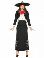Mexikanerinnen-Kostüm für Damen schwarz-weiss-rot