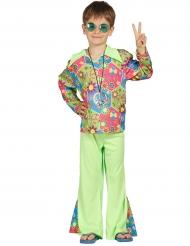 Hippie-Kostüm mit bunten Symbolen für Jungen