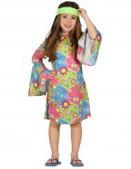 Hippie-Kostüm mit bunten Symbolen für Mädchen