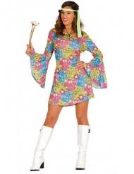 Hippie-Kostüm mit bunten Symbolen für Damen