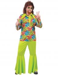 Hippie-Kostüm mit bunten Symbolen für Herren grün
