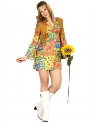 Hippie-Kostüm mit bunten Symbolen und Weste für Damen