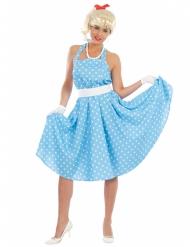 50er Kostüm für Damen Punkte blau